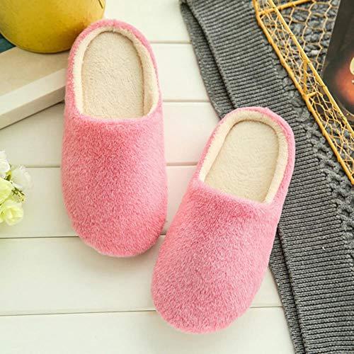 WSNBB Hausschuhe Frauen 2020 Interior Haus Plüsch weiche Nette Baumwolle Hausschuhe Schuhe Anti-Rutsch-Boden Pelzhausschuhe Damenschuhe für Schlafzimmer,Rosa,42