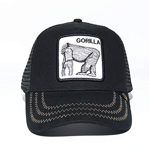 sdssup Gorra de béisbol Animal Sombrero Bordado de Fox Sombrero de Malla Sombrero Orangután Negro Ajustable
