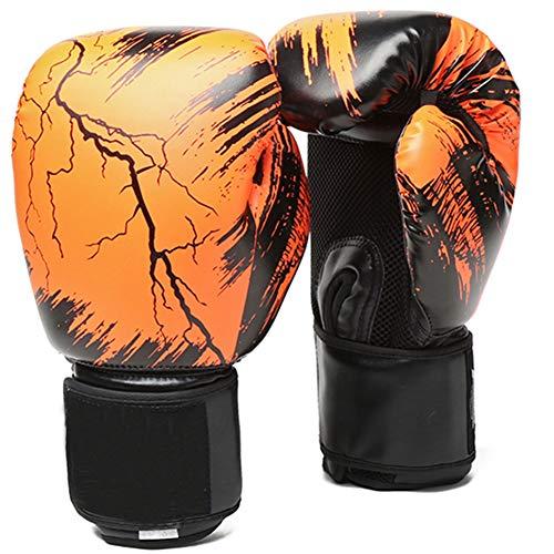 Guantoni da boxe in pelle, 396,9 g, per allenamento di punzonatura, sacco da boxe e sacco da boxe, guantoni, Muay Thai, kickboxing, MMA arti marziali (arancione)