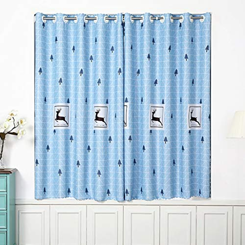 Single-Open Punch-Free Installation of Bedroom Blackout Curtains, Simple Shade Curtains, Telescopic Rod Curtains, Send Telescopic rods and Straps (Color : E, Size : 1.81.5m)