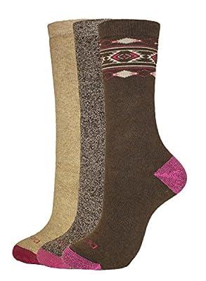 Dickies Women's Comfortable Full-Terry Cushion Crew Socks, Brown Fashion (3 Pairs), Shoe Size: 6-9