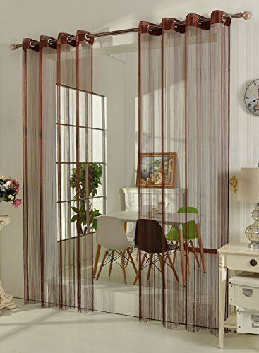 Gardinenbox Fadengardine Fadenstore Vorhang mit Ösen Raumteiler 140 x 250 cm, Braun, 20304