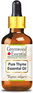 Greenwood Essential Thyme Essential Oil (Thymus vulgaris) with Glass Dropper 100% Natural Therapeutic Grade Steam Distille...