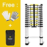 Finether 3.8m Aluminum Telescoping Ladder Extendable Step Ladder with Finger Protection Spacers for Home Loft Office EN131 Certified 330 Lb Capacity
