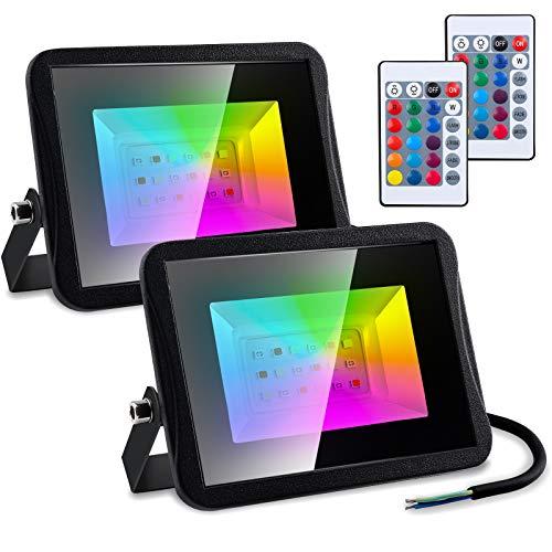 Hengda Focos LED RGB Exterior 2 x 10W Foco Proyector Exteriores 16 Colores y 4 Modos IP65 Iluminación Decorativa Multicolor, Foco LED Colores para Terraza Jardín Patio