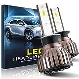 Ampoule H1 LED, 10800LM 6000K Phares pour Voiture et Moto, 2 Pièces