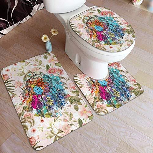 Lawenp Juego de alfombras de baño de Moda con exhibición de Flores de Rubor Rosa, 3 Piezas, Almohadillas Antideslizantes, Alfombrilla de baño + Contorno + Tapa de Inodoro