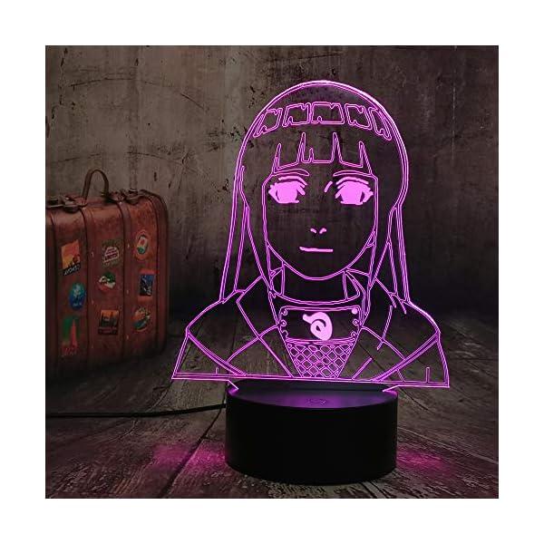 3D Lamp Naruto Hinata Hyuga Figure Nightlight for Kids Girl Bedroom Decor Bedside Table Desk Multi Color Remote Lamp Livingroom Decor Nursery Lighting Children Naruto Gift (Hinata Hyuga)