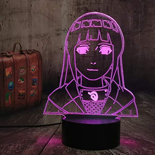 3D-Lampe Naruto Hinata Hyuga Figur Nachtlicht für Kinder Mädchen Schlafzimmer Dekor Nachttisch Schreibtisch Multi Farbe Remote Lampe Wohnzimmer Dekor Kinderzimmer Beleuchtung Kinder Naruto Geschenk