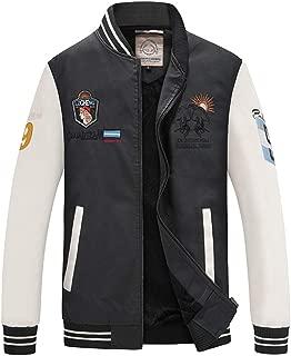 Men's Baseball Jacket PU Leather Plus Velvet Stand Collar Ribbed Cuffs and Hem Long Sleeve Waterproof Casual Flight Bomber Coat