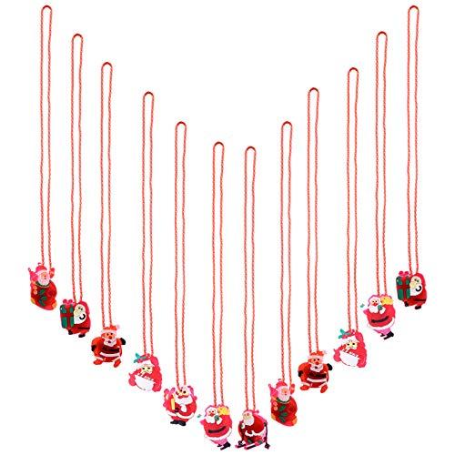 Amosfun 12Pcs Weihnachten Blinkende Licht Halsketten Weiche Kette Halskette Blinkende Santa Licht Halskette Urlaub Anhänger Halsketten für Kinder Party Begünstigt Weihnachtsdekoration