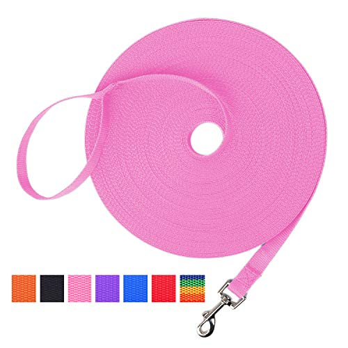 Hi Kiss Dog/Puppy Obedience Recall Training Agility Lead - 15ft 20ft 30ft 50ft 100ft Training Leash - Great for Training, Play, Camping, or Backyard - Pink 30ft