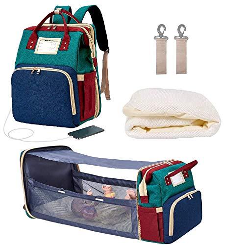 MYWILON Mochila cambiador maternidad 3 en 1 Gran capacidad – Bolsa de Pañales Multifunción impermeable – Bolso de viaje con cama para bebe (Multicolor)