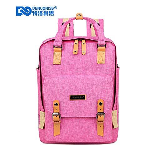 Backpack Lady Schoolbag Girl Backpack Pink Backpack Denim Large Capacity Laptop Backpack-Rose Red