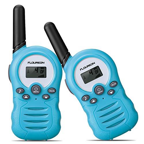 FLOUREON Niños Walkie Talkies, Radio Bidireccional Walkie al Aire Libre con 8 Canales Pantalla LCD de 3 Millas, 2PCS Azul