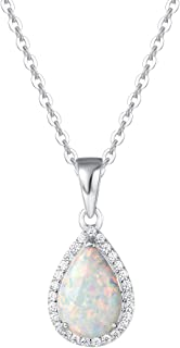 "FANCIME Sterling Silver Created White Opal Necklace Cubic Zirconia CZ Fire Opal Halo Heart/Teardrop/Oval Pendant October Birthstone Fine Jewelry for Women Girls 16""+2"" Extender"