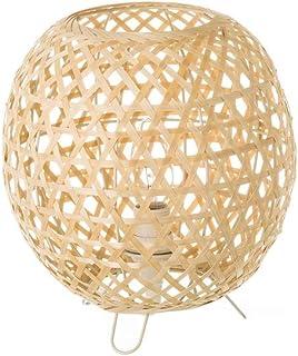 Lámpara de mesita de noche trenzada rústica de bambú beige de 23 cm - LOLAhome