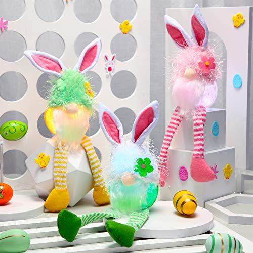 Skylety 3 Gnome di Coniglietto Pasquale Bambole di Peluche Tomte Gnomo a Luci 13,7 Pollici Ornamento Luminoso a LED Svedese Gnomo di Peluche a Luci Primaverile per Vacanze Festa Casa Tavolo