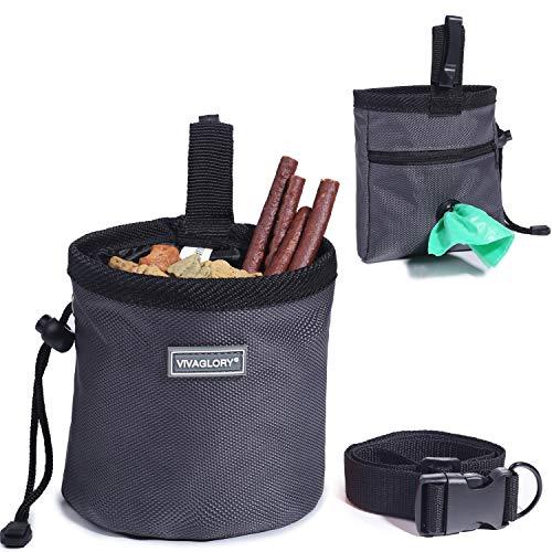VIVAGLORY Futterbeutel für Hunde, Futtertasche für Leckerli für das Hundetraining, mit Kotbeutelspender und verstellbarem Gürtel, Hundefuttertasche auf 2 Arten tragbar, Grau