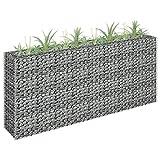 Benkeg Jardinera De Gaviones De Acero Galvanizado Plateado 180 x 30 x 90 cm, Jardinera Gaviones para Piedras Cesta de Piedras de Acero