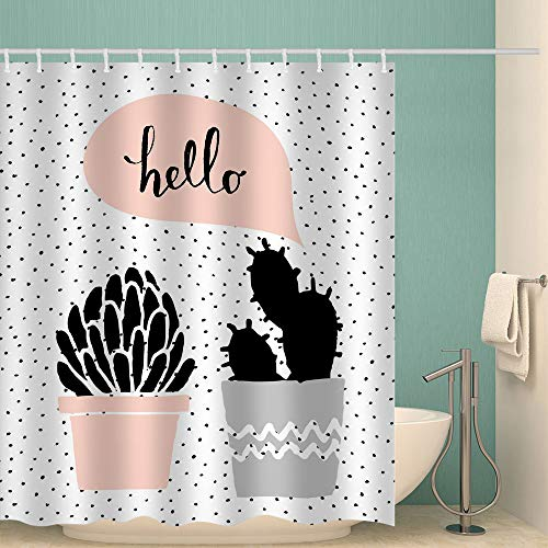 Fabric Shower Curtain Hand Painted Cactus Succulents Bonsai Polyester Washable Waterproof Cloth Bath Curtain Bathroom Decor Set with Hooks