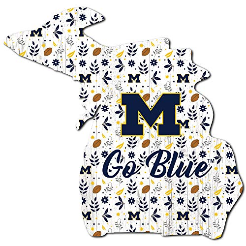 Fan Creations NCAA Michigan Wolverines Unisex University of Michigan Floral State Sign, Team Color, 12 inch