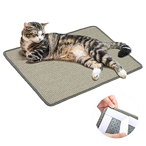 PETTOM Cat Scratching Mat with Non-Slip Adhesive Tape, Natural Sisal Cat Scratch Pad, Horizontal Cat Scratcher Mat Protect Carpet for Indoor Cats, 15.7 x 23.6 inch (Grey)