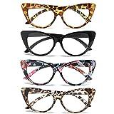 MMOWW Confezione da 4 Occhiali da Lettura con Occhio di Gatto, Lettori di moda comodi ed eleganti per le donne, Oversized cat eye +1.5