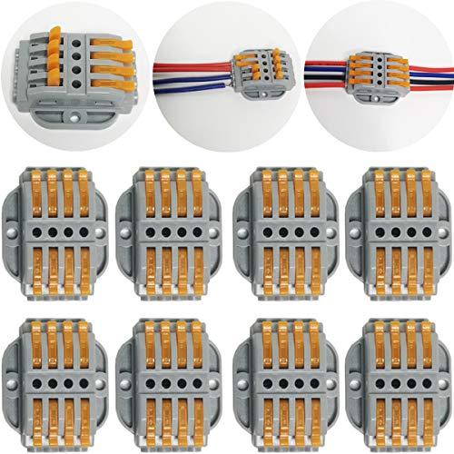 CTRICALVER 8 pcs SPL-4 Verbindungsklemme Lever Nuts Set, Kompakten Steckklemmen Push Kabelverbinder Sortiment Schnell Klemmenblock Spleißverbinder, Kabelverbinder mit Befestigungsschrauben