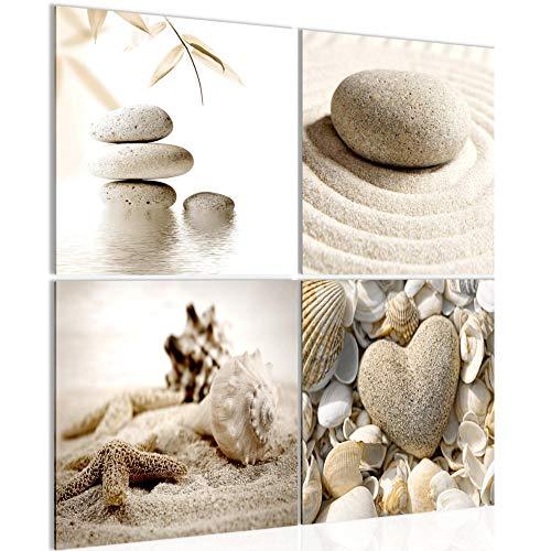 Runa Art - Bilder Strand Steine Vlies Leinwandbild Beige Mehrteilig Moderne Wanddeko 501643a