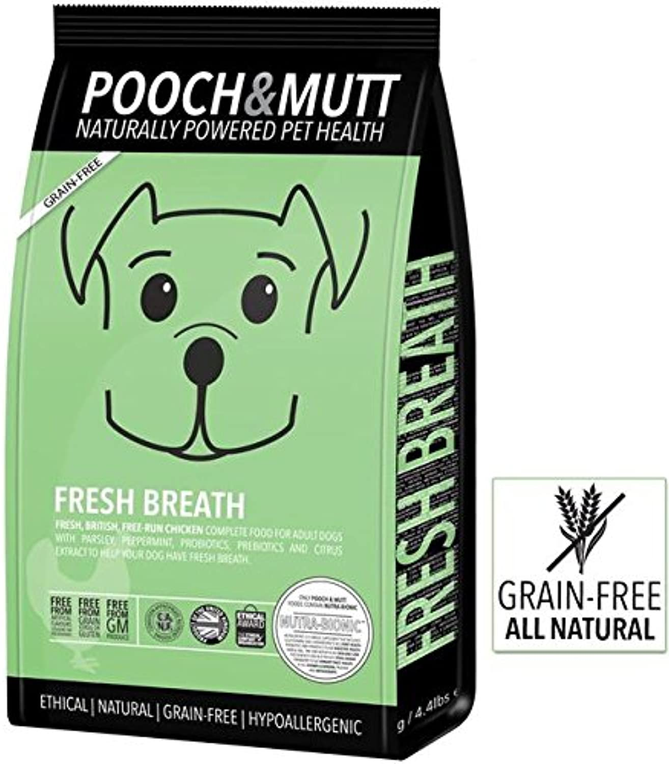 Pooch and Mutt Fresh Breath food a Complete Dry Grainfree food, bulk purchase 4 x 2kg bags that promotes breath freshness, oral hygiene and digestion