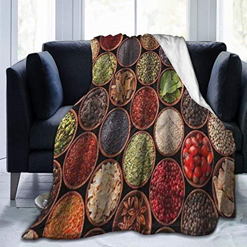 QIUTIANXIU Mantas para Sofás de Franela 150x200cm Coloridas Hierbas Y Especias Cardamomo Pimienta Chile Jengibre Eneldo Cocina Natural Manta para Cama Extra Suave