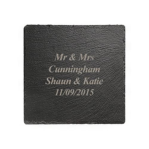 Mensaje personalizado grabado láser cuadrado pizarra natural 10 cm para mesa de café, bebidas, cenas y entretenimiento