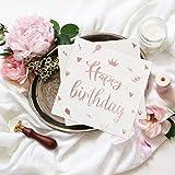 BIGKASI 60 Pezzi Tovaglioli oro rosa-bianchi Tovaglioli di carta di compleanno Happy Birthday Tempo Tovaglioli abbronzanti romantici con coriandoli per decorazioni per feste di compleanno (33x33 cm)