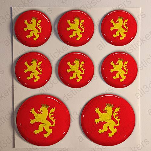Pegatinas Bandera Zaragoza Redondas 8 x Pegatina Zaragoza Resina Relieve 3D Adhesivo Vinilo