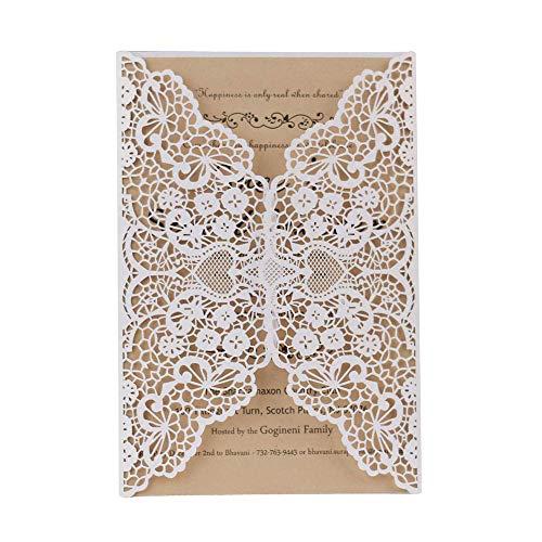 JinSu 10 Stück Laser Geschnittene Einladungskarten mit Bedruckbaren Papier und Umschläge für Hochzeit Hochzeitstag Braut Brautdusche Party, Geschäftstätigkeiten, Feierlichkeiten und mehr