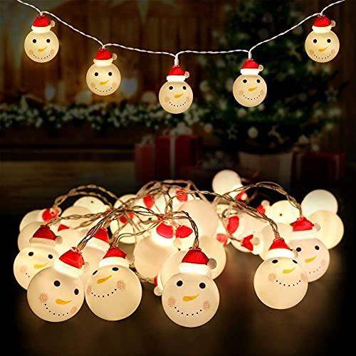 XinQing Guirnalda de Luces navideñas, muñeco de Nieve LED de 9.8 pies y 20 LED, con Pilas y Control Remoto, decoración del árbol de Navidad de Bricolaje para Interiores y Exteriores, Blanco cálido