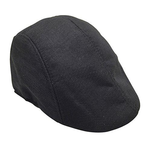 Tinksky Tinksky Schirmmützen Leinen Schiebermütze Golfermütze für Herren Damen (schwarz)