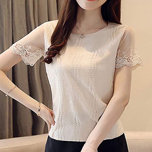 DYXYH Camisa de Gasa de Malla Tops Camisas de Mujer Blusa de Encaje Tops y Blusas para Mujer (Size : XXL Code)