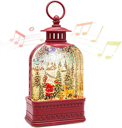 CaiFang Christmas Snow Globe Lantern with Music Lighted Water Snow Globe 6H Timer Santa Glitter product image