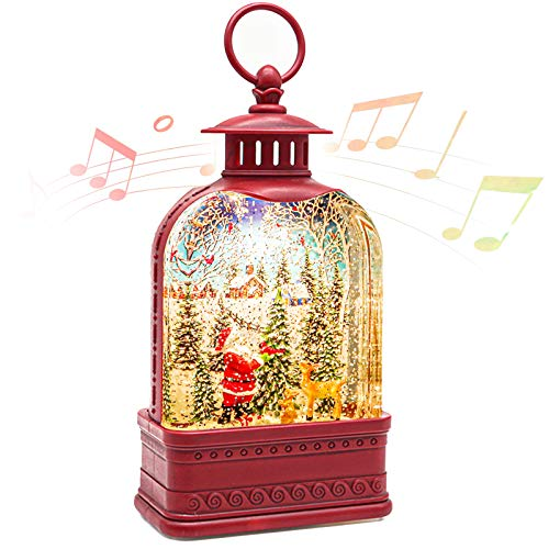 CaiFang Christmas Snow Globe Lantern with Music, Lighted Water Snow Globe 6H Timer Santa Glitter Lantern Lamp for Gifts and Decorations, Red