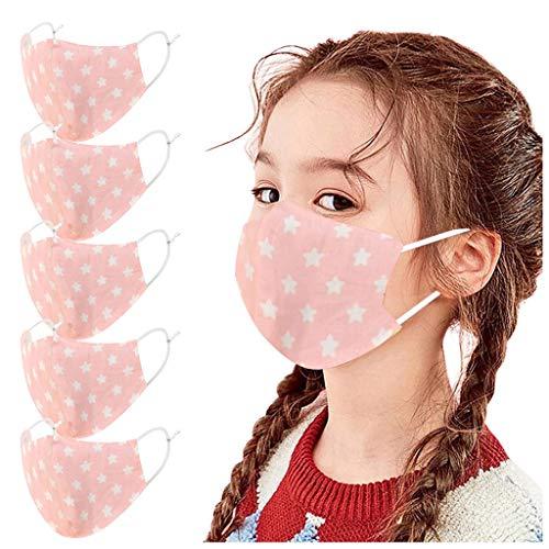 GNYD 5PC Stück für Kinder, Niedlicher Cartoon-Mundschutz Earhook für Jungen und Mädchen Waschbar Wiederverwendbar Mundbedeckung