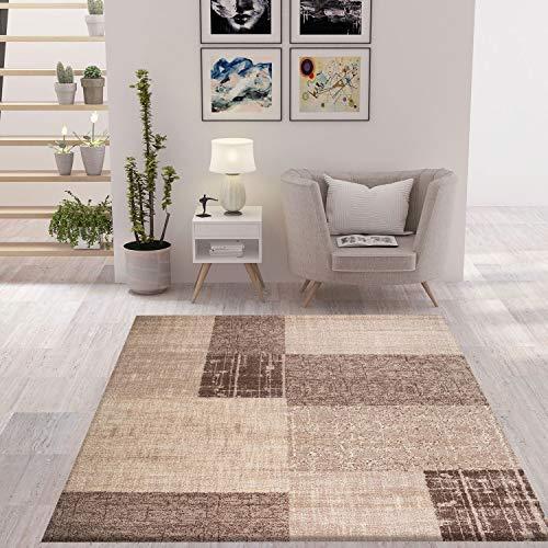 VIMODA Moderner Teppich in Beige und Weiß mit Kachel Optik Kurzflor, Maße:120 x 170 cm