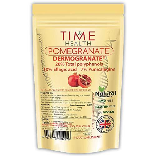 Sicilian Pomegranate Extract – 300mg per Capsule – Premium Brand Dermogranate – 20% Polyphenols / 10% Ellagic Acid / 7% Punicalagins – Vegan – Zero Additives (120 Kapseln)