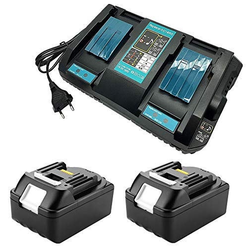 4A Dual Channel Charger mit 2 Einheiten 18V 4.0Ah Lithium Batterie Ersetzen für Makita Baustellenradio DMR110 Rasentrimmer DUR181Z Bohrschrauber DHP482Z Staubsauger DCL182Z Akku and Ladegerät