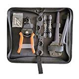 Witproton Solar PV Connector Crimper Tool Kit for 14/12/10/8 AWG Solid Copper Pins, Crimping and Stripping Tools, Spanner Bag for Photovoltaic