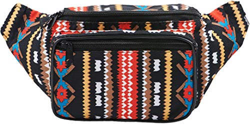 Festival Fanny Pack - Boho, Hippy, Eco, Woven, Cotton & Tribal Poly Styles (Black)