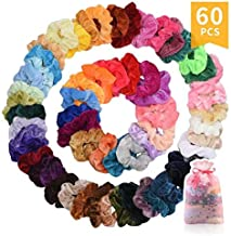 60 Pcs Premium Velvet Hair Scrunchies Hair Bands for Women or Girls Hair Accessories with Gift Box,Great Gift for halloween Thanksgiving day and Christmas