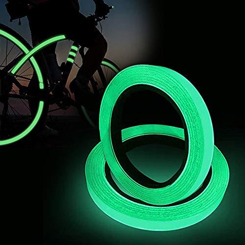 2 Stück Leuchtendes Band, Fluoreszierendes Klebeband, 3Mx 10mm Selbstklebendem Band, Warnband, Glow In The Dark, Nachtleuchtend Wasserdicht Abnehmbar Tragbar Sicherheit