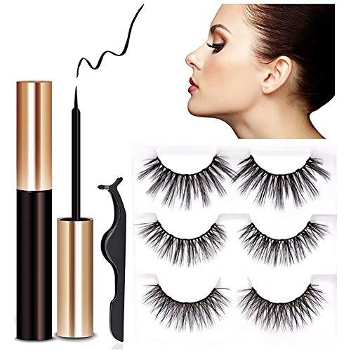 3 Paare Magnetische Wimpern und Eyeliner Kit, Verbesserte 3D-Wiederverwendbare falsche Wimpern natürlichen Look mit Applikator, kleister